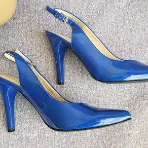 Nine West Patent Leather Heels Slingback 8.5 Blue